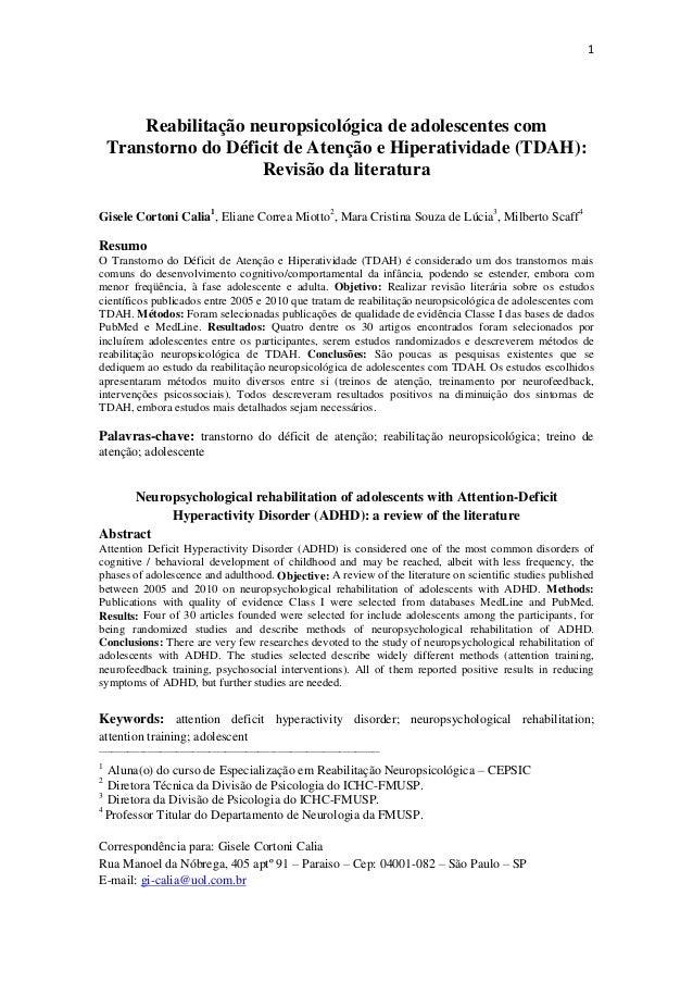 1  Reabilitação neuropsicológica de adolescentes com Transtorno do Déficit de Atenção e Hiperatividade (TDAH): Revisão da ...