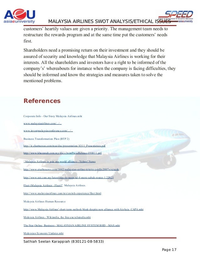 The weakness of malaysia airlines
