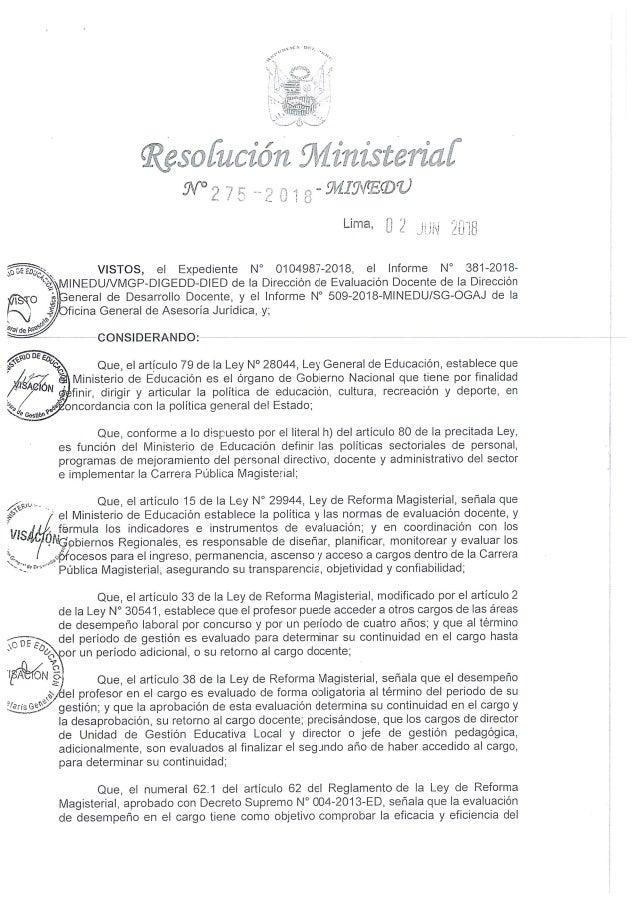 RM.275-2018-MINEDU -Convoca a evaluación de desempeño directivo y aprueba cronograma