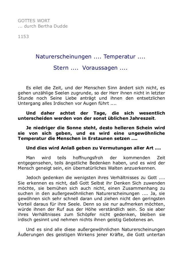 GOTTES WORT ... durch Bertha Dudde 1153  Naturerscheinungen .... Temperatur .... Stern .... Voraussagen ....  Es eilet die...