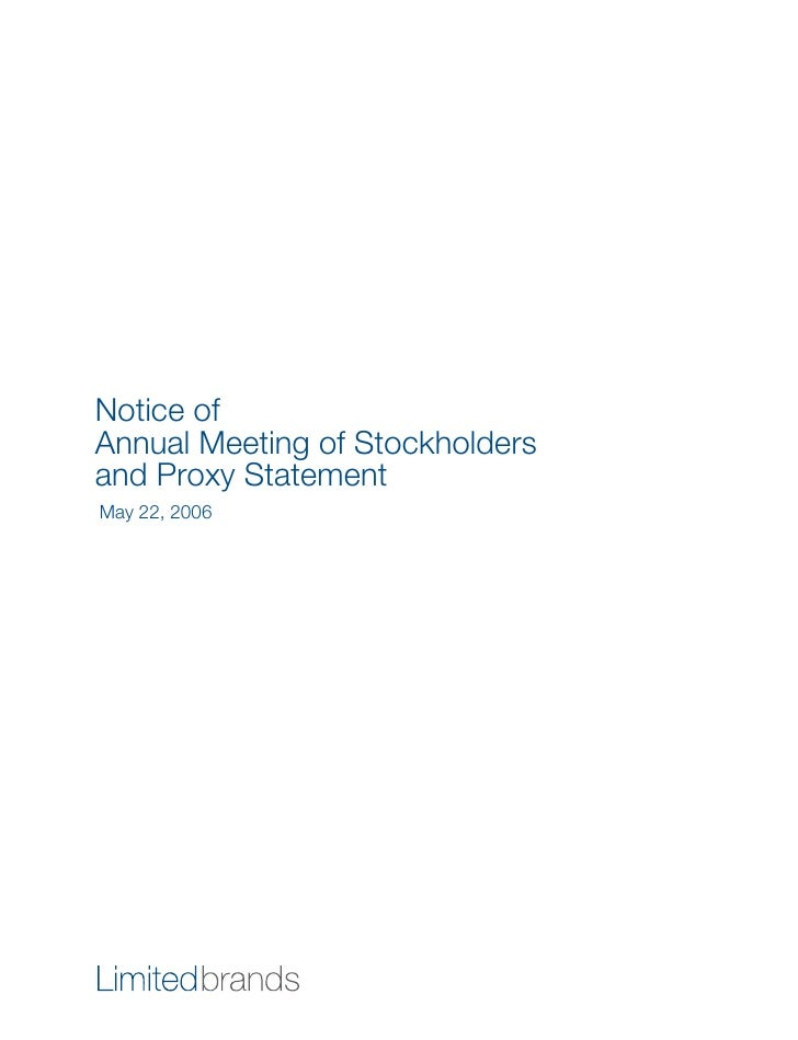 Notice of Annual Meeting of Stockholders and Proxy Statement May 22, 2006