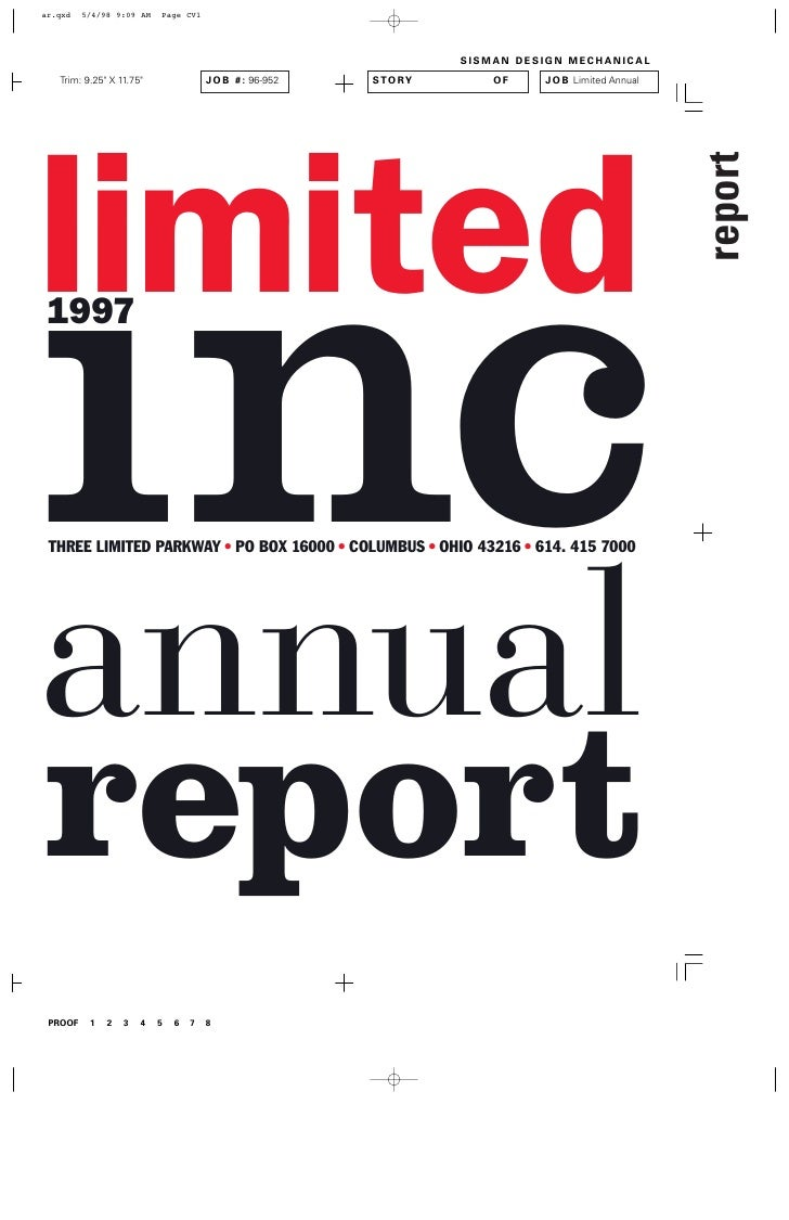 limited inc 1997     THREE LIMITED PARKWAY • PO BOX 16000 • COLUMBUS • OHIO 43216 • 614. 415 7000     annual report