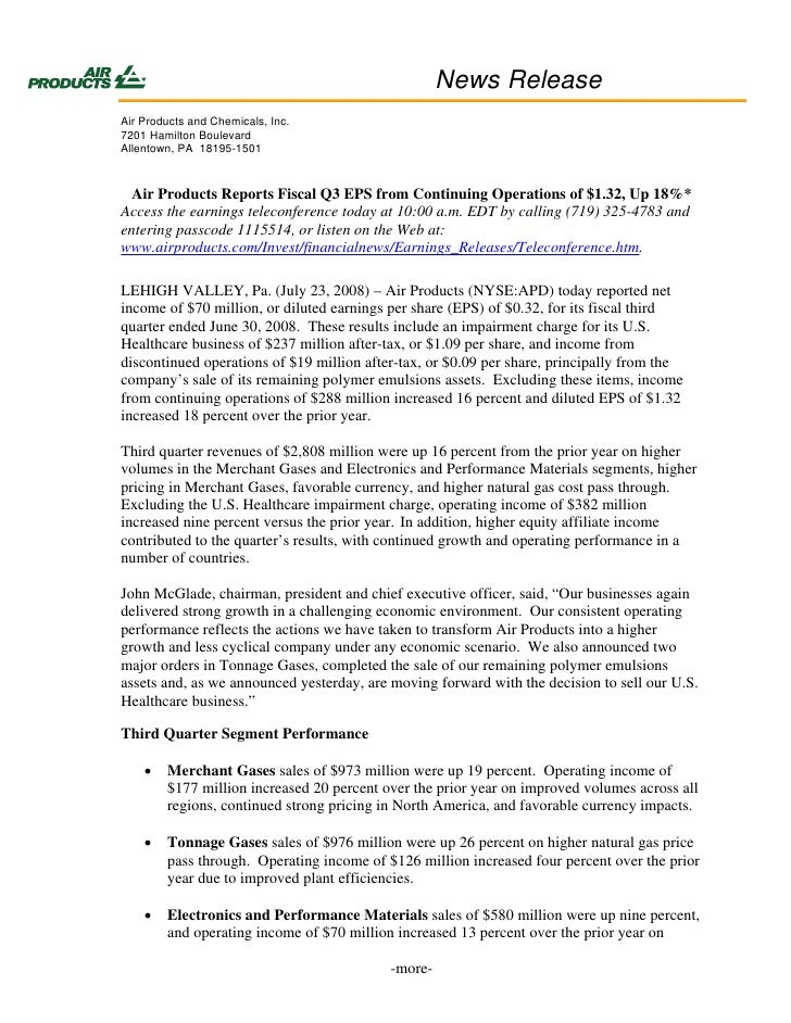News Release Air Products and Chemicals, Inc. 7201 Hamilton Boulevard Allentown, PA 18195-1501      Air Products Reports F...