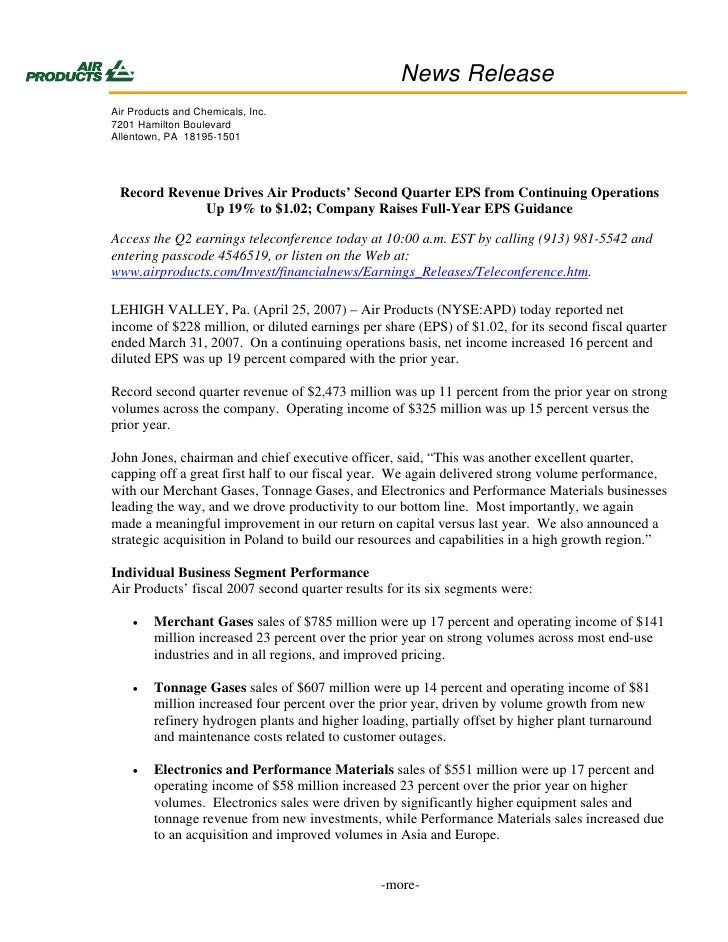 News Release Air Products and Chemicals, Inc. 7201 Hamilton Boulevard Allentown, PA 18195-1501      Record Revenue Drives ...