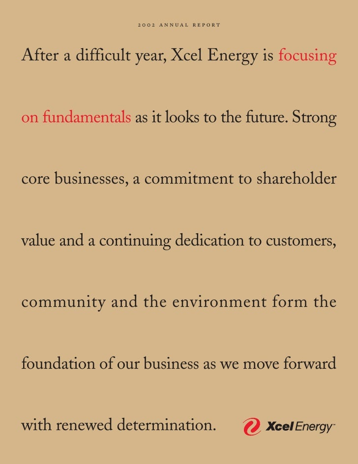 2002 ann ual report    After a difficult year, Xcel Energy is focusing   on fundamentals as it looks to the future. Strong...