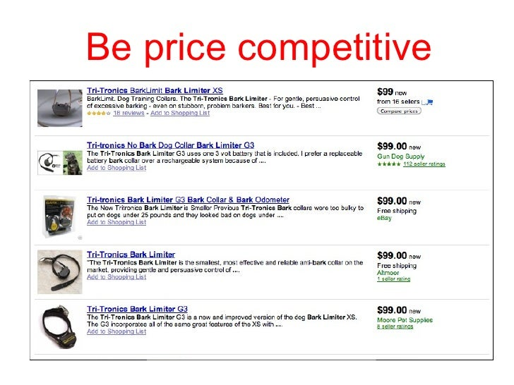 Be price competitive