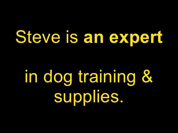 Steve   is  an expert   in dog training & supplies.