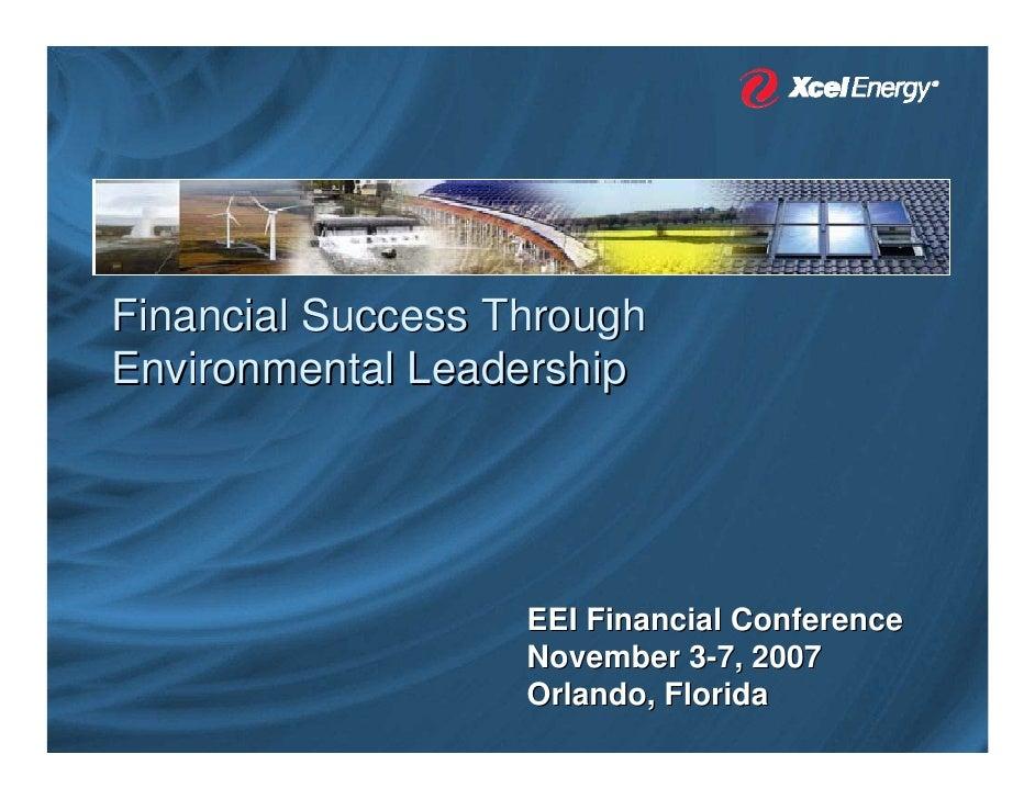 Financial Success Through Environmental Leadership                        EEI Financial Conference                    Nove...
