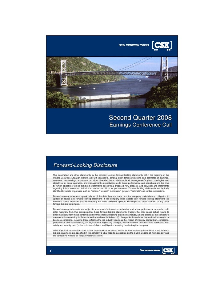 Second Quarter 2008                                                               Earnings Conference Call 1         Forwa...