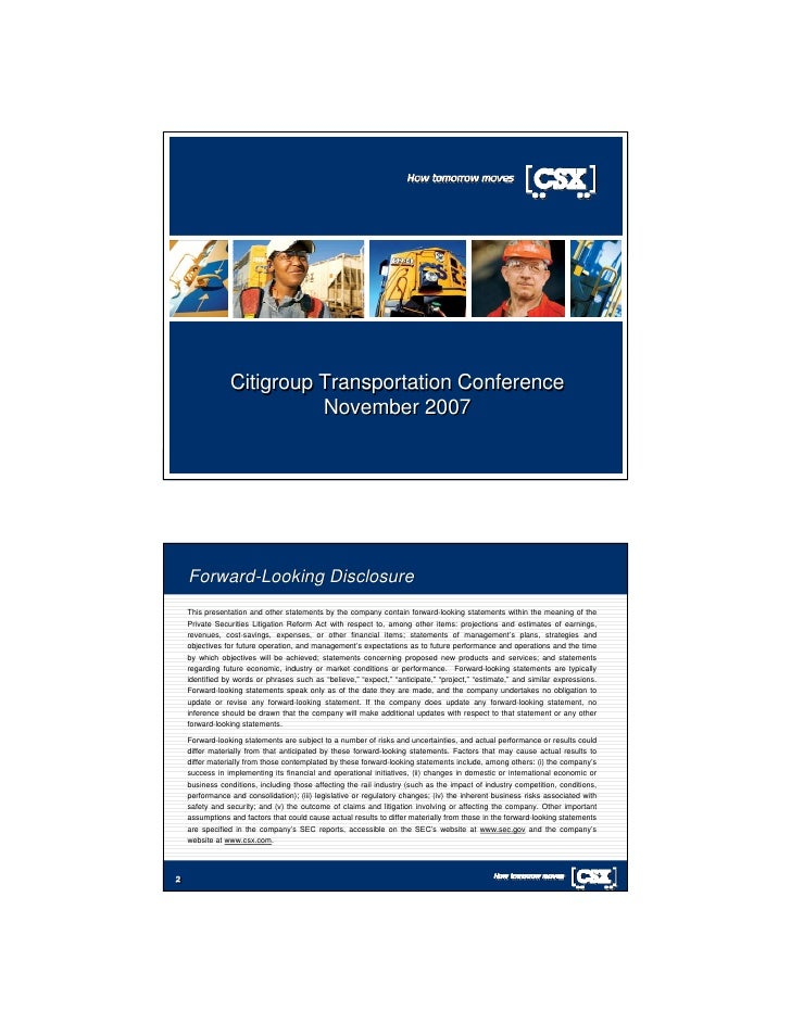 Citigroup Transportation Conference                           November 2007         Forward-Looking Disclosure     This pr...