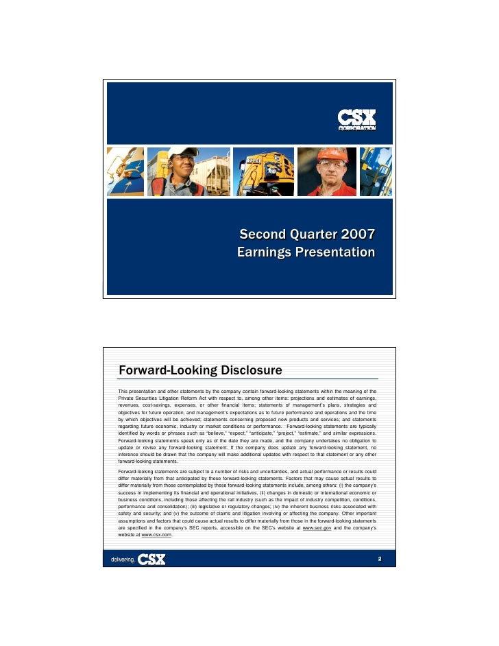 Second Quarter 2007                                                        Earnings Presentation                          ...