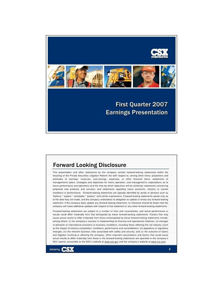 First Quarter 2007                                                     Earnings Presentation                              ...