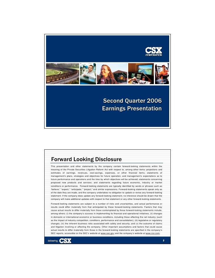 Second Quarter 2006                                                     Earnings Presentation                             ...
