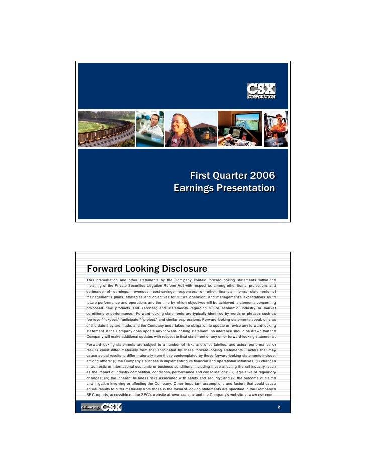 First Quarter 2006                                                     Earnings Presentation                              ...