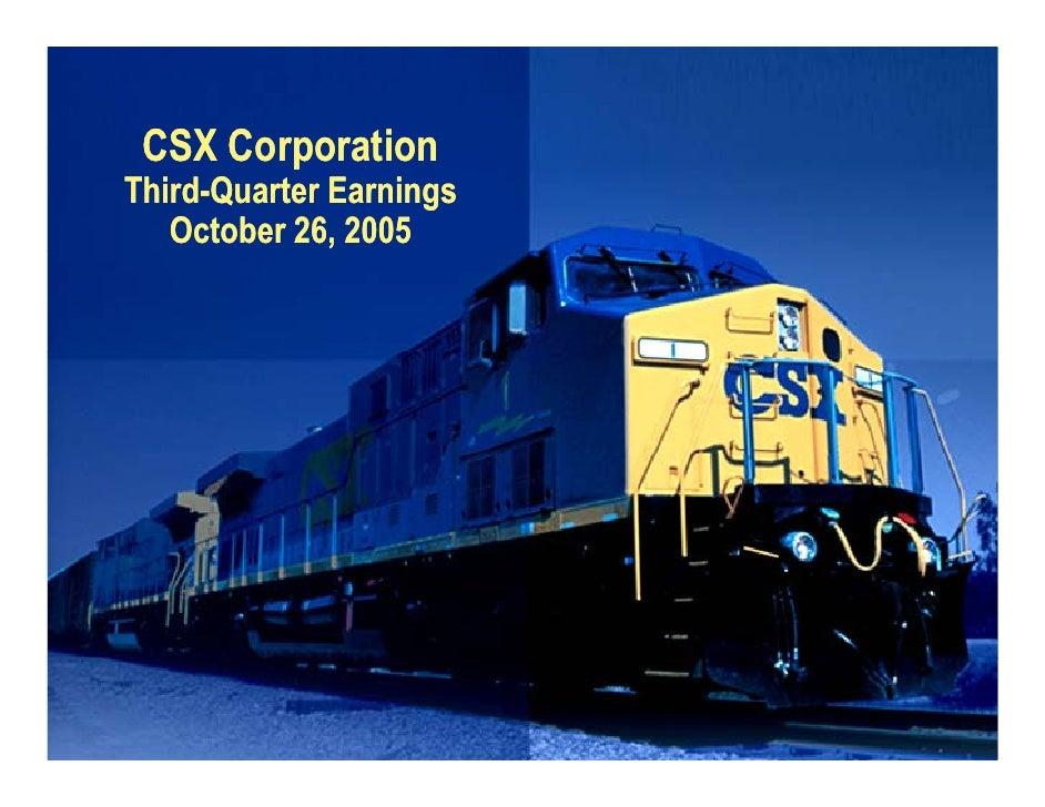 CSX Corporation Third-Quarter Earnings    October 26, 2005