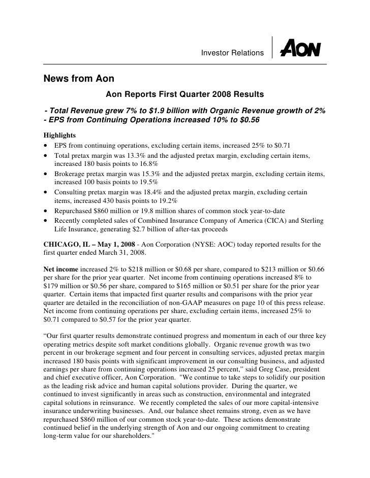 Investor Relations   News from Aon                      Aon Reports First Quarter 2008 Results - Total Revenue grew 7% to ...