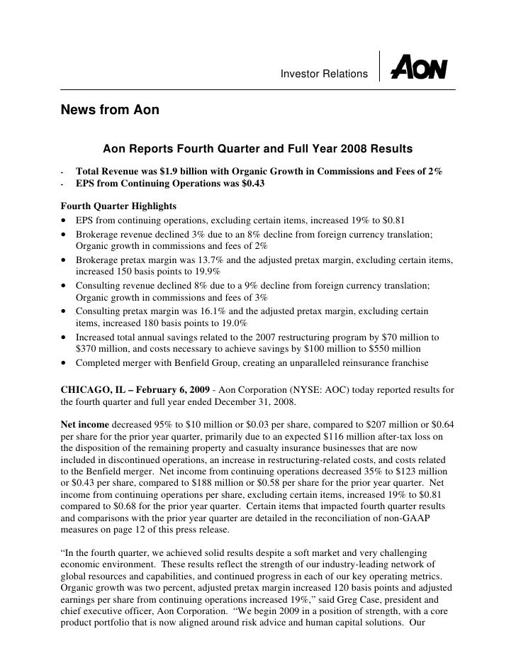 Investor Relations   News from Aon            Aon Reports Fourth Quarter and Full Year 2008 Results     Total Revenue was ...