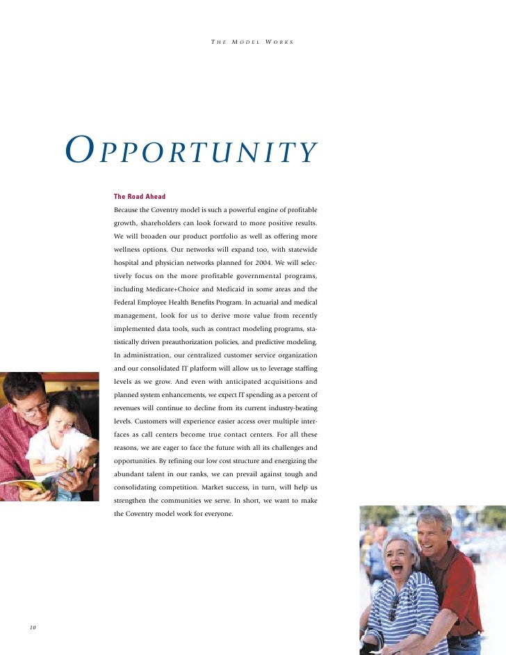 Coventry health care annual reports2003 for Coventry federal plans