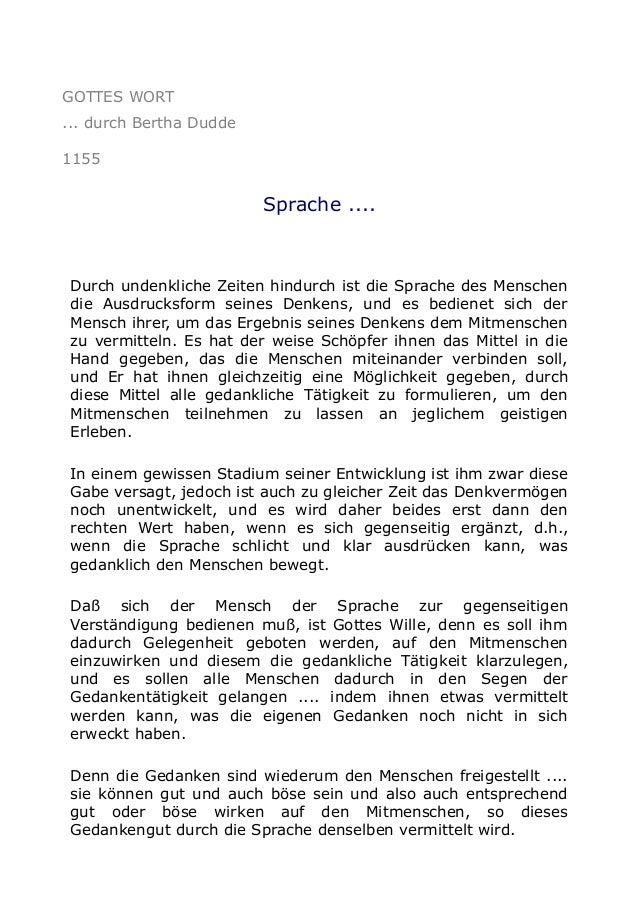 GOTTES WORT ... durch Bertha Dudde 1155 Sprache .... Durch undenkliche Zeiten hindurch ist die Sprache des Menschen die Au...