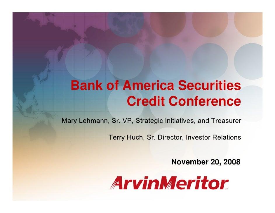 BAS Credit Conference, Orlando, Florida                                                              November 20, 2008    ...
