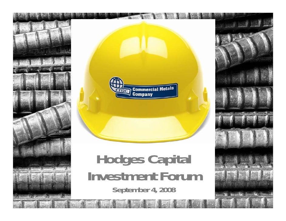 Hodges Capital Investment Forum    September 4, 2008