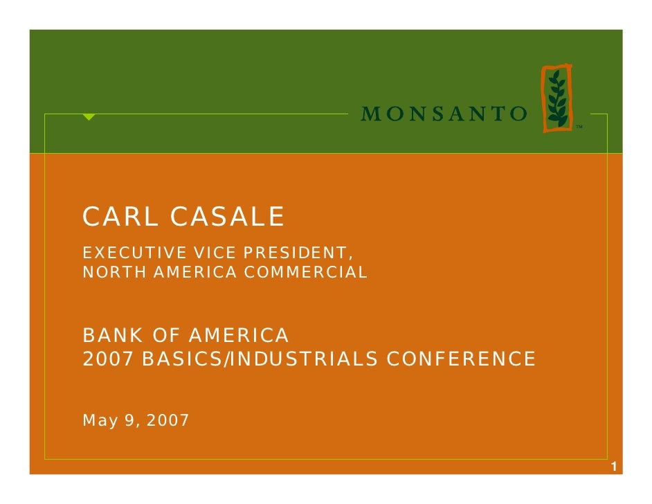 CARL CASALE EXECUTIVE VICE PRESIDENT, NORTH AMERICA COMMERCIAL   BANK OF AMERICA 2007 BASICS/INDUSTRIALS CONFERENCE   May ...