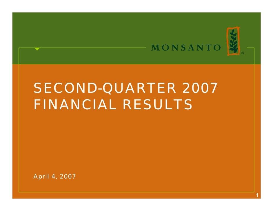 SECOND-QUARTER 2007 FINANCIAL RESULTS     April 4, 2007                        1