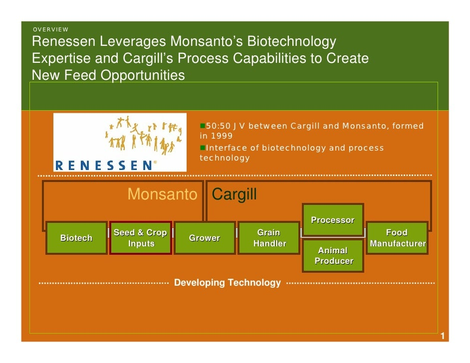 OVERVIEW  Renessen Leverages Monsanto's Biotechnology Expertise and Cargill's Process Capabilities to Create New Feed Oppo...