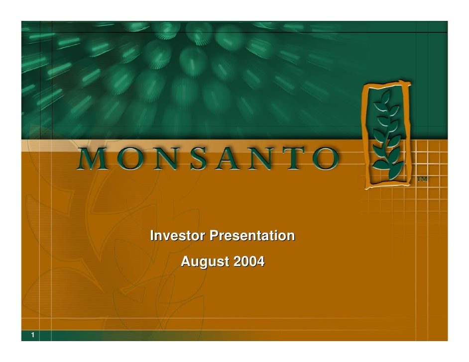 Investor Presentation         August 2004     1