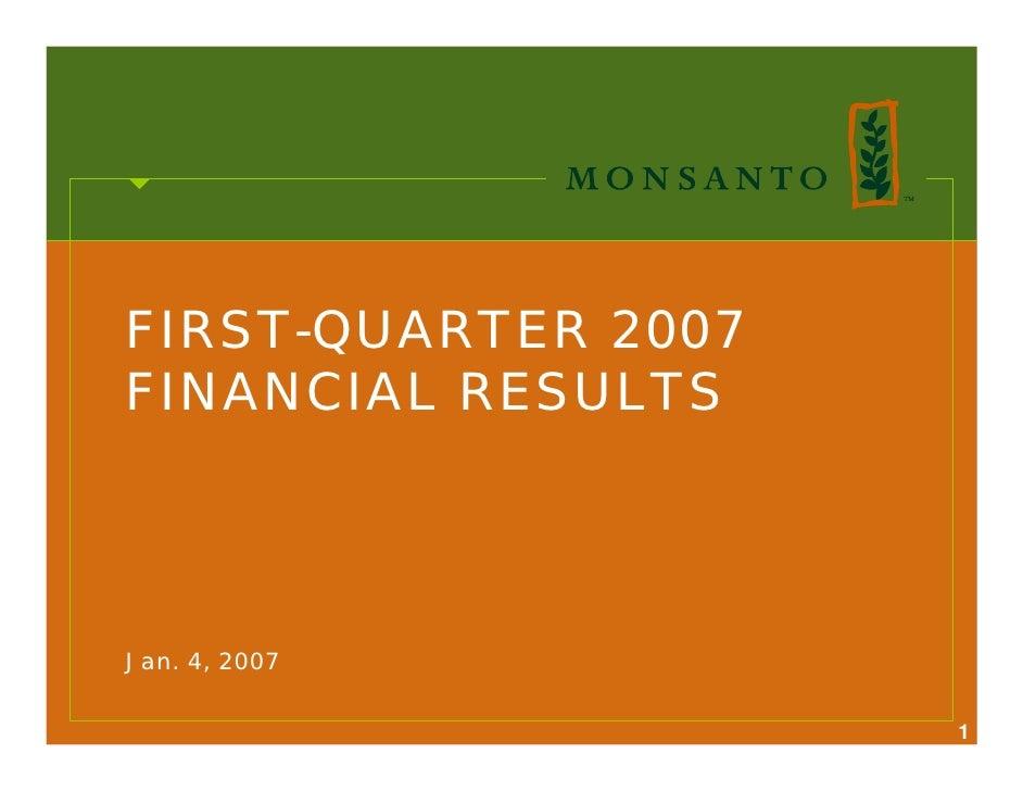 FIRST-QUARTER 2007 FINANCIAL RESULTS     Jan. 4, 2007                       1