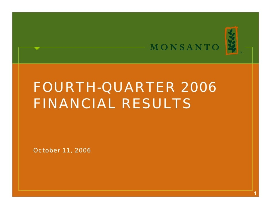 FOURTH-QUARTER 2006 FINANCIAL RESULTS   October 11, 2006                           1