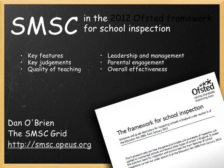 SMSC Dan O'Brien The SMSC Grid http://smsc.opeus.org in the  2012 Ofsted framework  for school inspection <ul><ul><li>Key ...