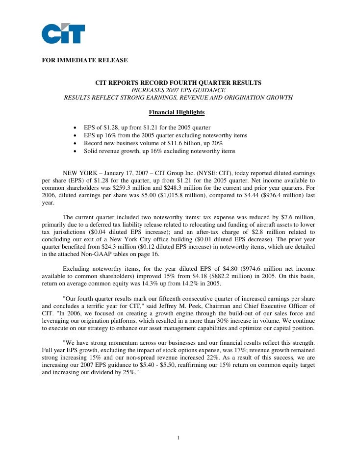 FOR IMMEDIATE RELEASE                    CIT REPORTS RECORD FOURTH QUARTER RESULTS                            INCREASES 20...
