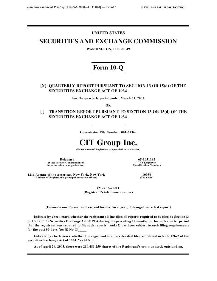Doremus Financial Printing (212)366-3800—CIT 10-Q — Proof 5                                     5/5/05 6:41 PM 01.20825-C;...
