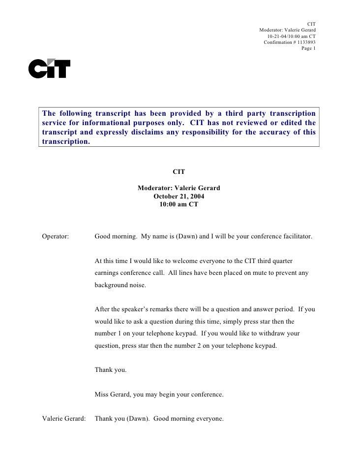 CIT                                                                               Moderator: Valerie Gerard               ...