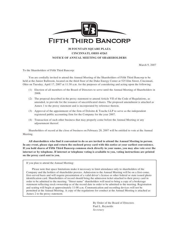 38 FOUNTAIN SQUARE PLAZA                                       CINCINNATI, OHIO 45263                           NOTICE OF ...