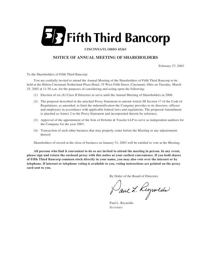 CINCINNATI, OHIO 45263                    NOTICE OF ANNUAL MEETING OF SHAREHOLDERS                                        ...