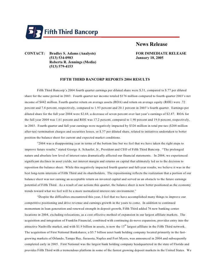 News Release CONTACT:          Bradley S. Adams (Analysts)                                        FOR IMMEDIATE RELEASE   ...
