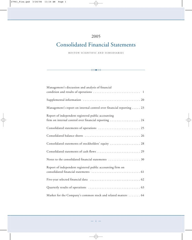 2005                                                 2005          Consolidated Financial Statements           Consolidate...