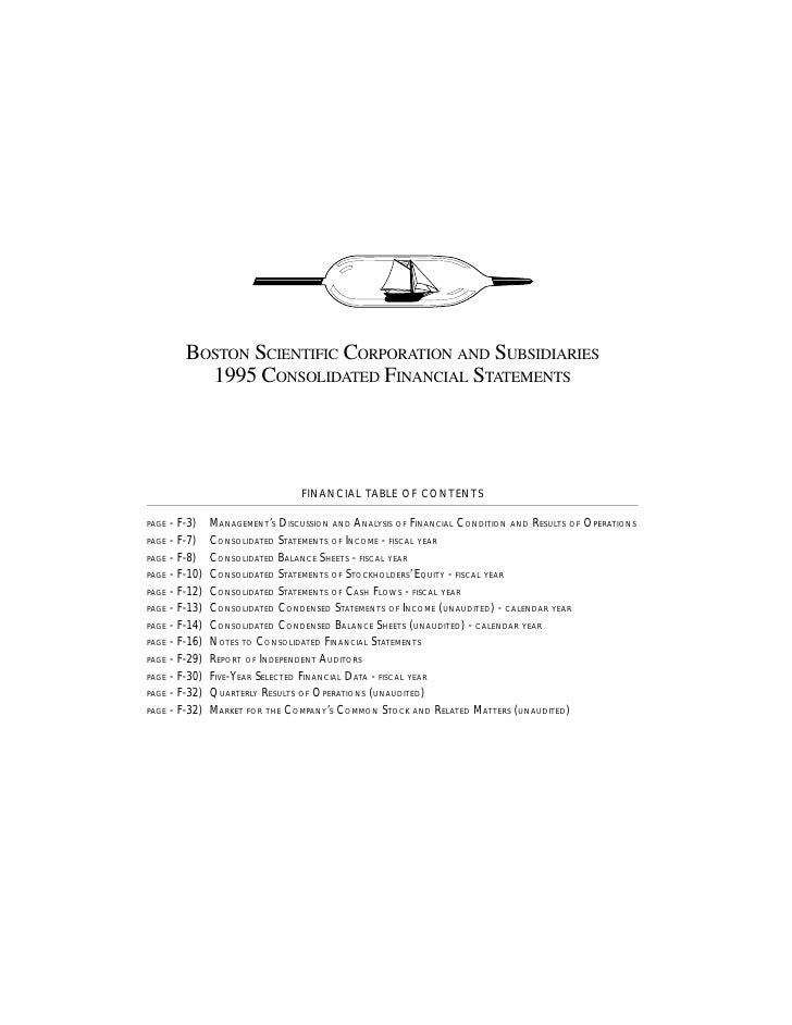 BOSTON SCIENTIFIC CORPORATION AND SUBSIDIARIES           1995 CONSOLIDATED FINANCIAL STATEMENTS                           ...