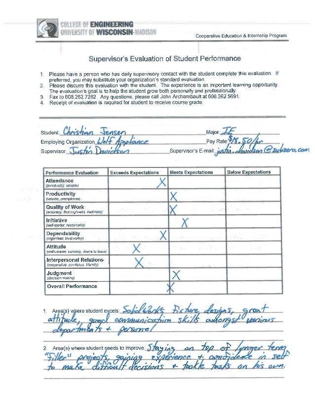 Jensen Christian Supervisor Evaluation