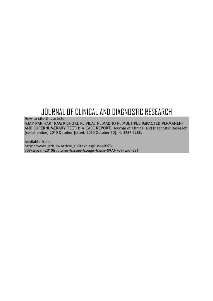 JOURNAL OF CLINICAL AND DIAGNOSTIC RESEARCHHow to cite this article:AJAY PARIHAR, RAM KISHORE R, VILAS N, MADHU R. MULTIPL...