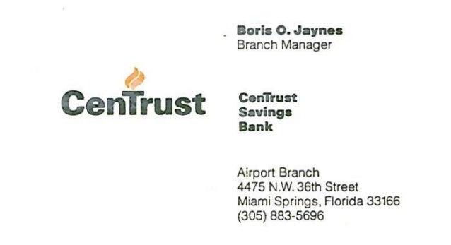 Centrust savings bank business card colourmoves
