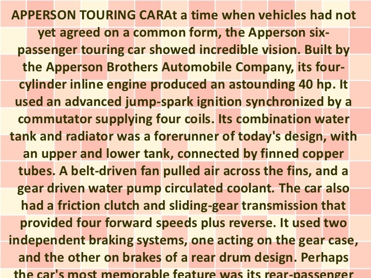 APPERSON TOURING CARAt a time when vehicles had not      yet agreed on a common form, the Apperson six-  passenger touring...