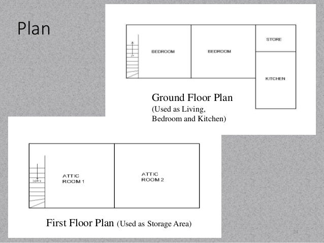 Plan  24  Ground Floor Plan  (Used as Living,  Bedroom and Kitchen)  First Floor Plan (Used as Storage Area)
