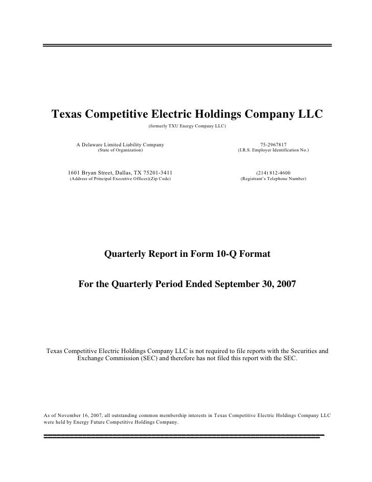 Texas Competitive Electric Holdings Company LLC                                                  (formerly TXU Energy Comp...