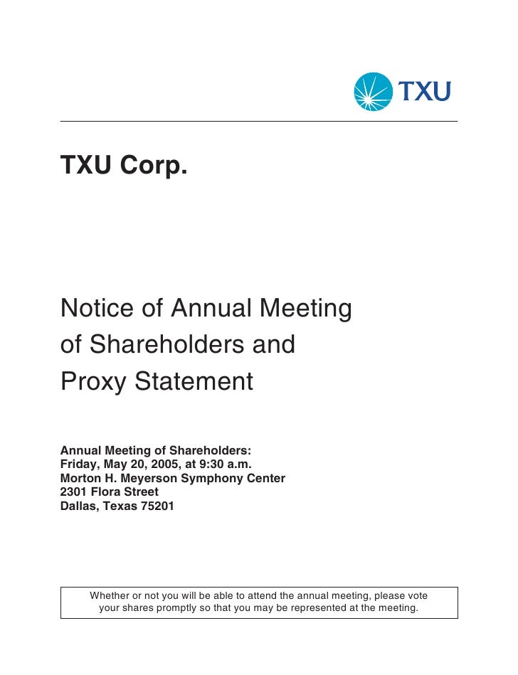 TXU Corp.     Notice of Annual Meeting of Shareholders and Proxy Statement  Annual Meeting of Shareholders: Friday, May 20...