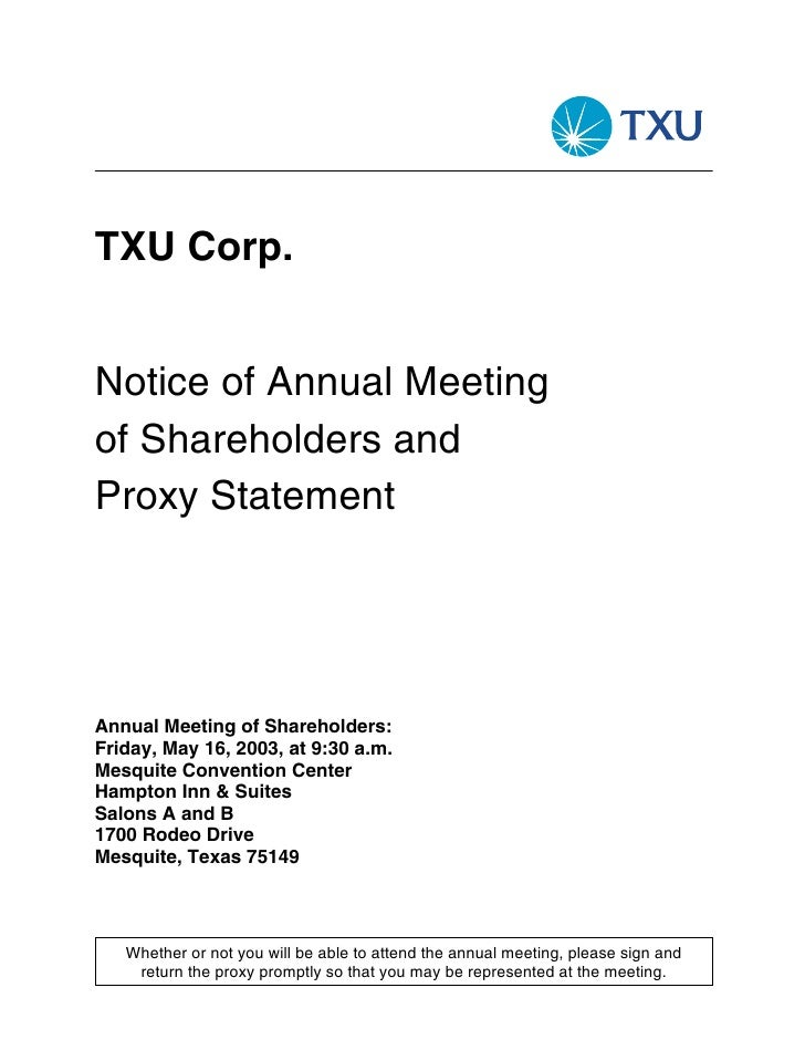 TXU Corp.   Notice of Annual Meeting of Shareholders and Proxy Statement     Annual Meeting of Shareholders: Friday, May 1...
