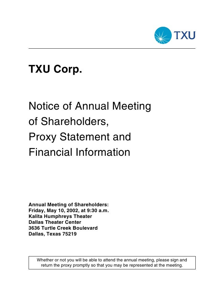 TXU Corp.   Notice of Annual Meeting of Shareholders, Proxy Statement and Financial Information    Annual Meeting of Share...