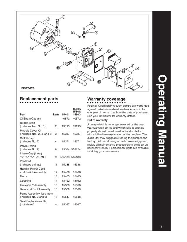 116292 e vacuum pump operating info 11 12 9 8 9 9 7 13 6 5 14 4 15 3 operating manual 17 16 2 1inst0026replacement parts warranty coverage robinair cooltech® vacuum pumps are warranted 15605